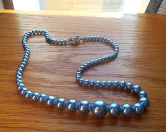 vintage faux blue pearls with rinestone clasp