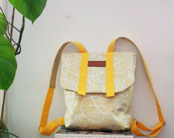 Mustard Yellow Backpack, Waterproof Backpack, Compartment Laptop, College Bag, Retro Style Backpack, School Bag