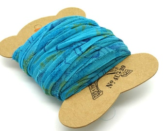 """SI0206"" Turquoise chiffon sari Silk Ribbon"