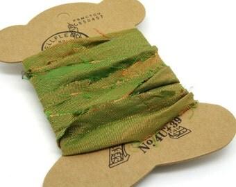 "Ribbon silk chiffon sari orange reflection electric green ""SI0213"""