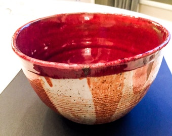 Large Shino and Vegas Red Glazed Bowl.