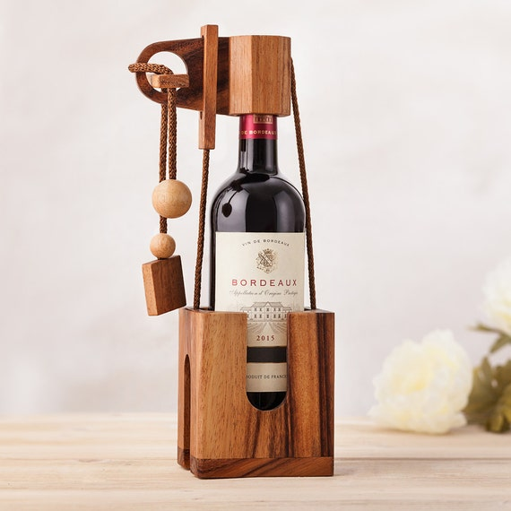 Wine Puzzle – Wooden Brain Teaser - Gift Wrapping Idea for Wine Bottles - Dark Wood