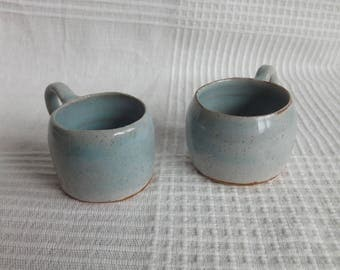 Two Speckled Blue Espresso Cups
