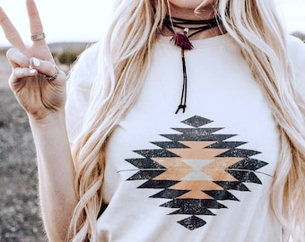 Western Sign Vintage Inspired Tee. Womens Stylish Western Pendleton Native Indian Inspired Retro Boho Distressed Graphic Tee