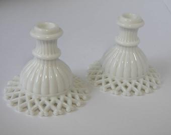 Vintage Pair of Lattice Milk Glass Candle Holders