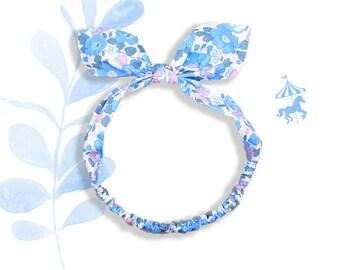 Headband baby / child liberty Blue rose