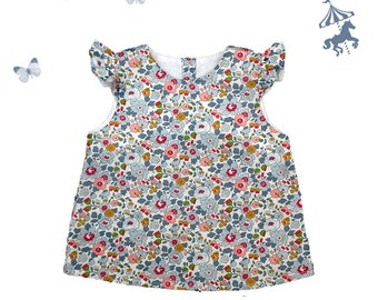 Blouse/top ruffled Liberty® porcelain baby