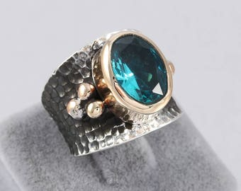 Handmade Authentic Aged Blue Topaz Oxidized 925 Sterling Silver Ladies Ring Size Adjustable