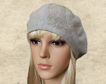 Womens knit beret, Gray beret women, Knitted beret lady, Trendy womens beret, Women's beret hats, Lightweight beret, French beret knit