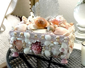 Seashell Encrusted Box Exquisite Luxury Gift Sailors Valentine Beach Wedding
