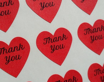"""Free Shipping 108 Red, Pink or Gold Foil , Mini Heart Thank You Stickers Labels 0.75"""" inch High Quality Envelope Card Seals"""