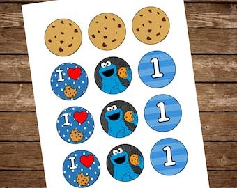 Cookie Monster Cupcake Liners, Cookie Monster Cupcake Toppers, Cookie Monster Birthday, Cookie Monster first birthday, Cookie Monster Party