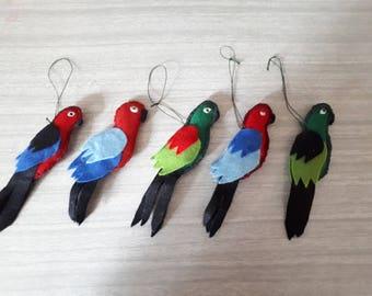 5 Handmade Vintage Felt Parrots