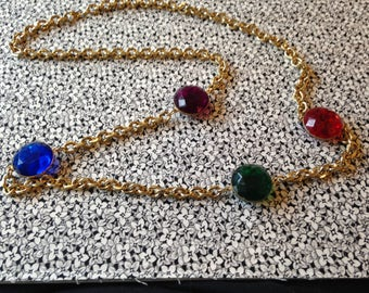 "Long Gold Toned Costume Jewelry Necklace with Colored Synthetic ""Jewels"", Vintage"