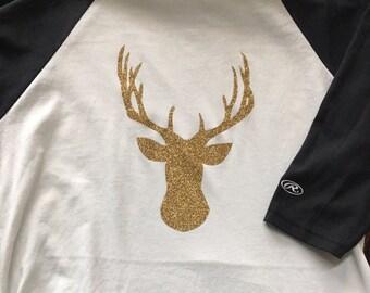 Deer head baseball tee