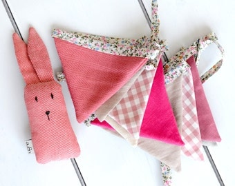 Baby Girl Photo Prop set pink garland pink bunny