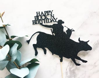 Bull Rider Cowboy Cake Topper or Cupcake Topper- western decor/Cow Girl/lasso/country topper/ranch decor/horse cake topper/cowboy/Bull rider