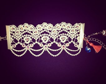 Lace bracelet set with Rhinestones with charms
