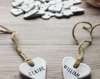 Personalised Clay Heart Place Tags, Wedding Favour/Favor Tags - Rustic, Vintage, Shabby Chic, Country Wedding Decor, Table Decoration