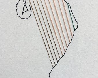 The man who turned into a harp \\ continuous line \\ figure