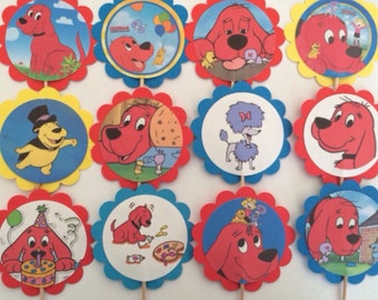 12 Clifford cupcake toppers OR favor tags, Clifford birthday party, Clifford party favors, Clifford big red dog