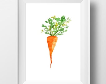 Carrot Art Print, Carrot Kitchen Art, Carrot artwork, Carrot painting, Kitchen artwork