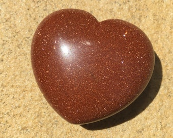 Goldstone Carved Heart