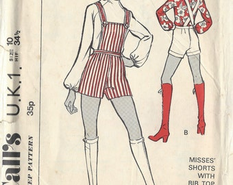 "1960s Vintage Sewing Pattern B32.5""-W24"" HOTPANTS, SHORTS, BLOUSE (1338) McCalls U.K.1"