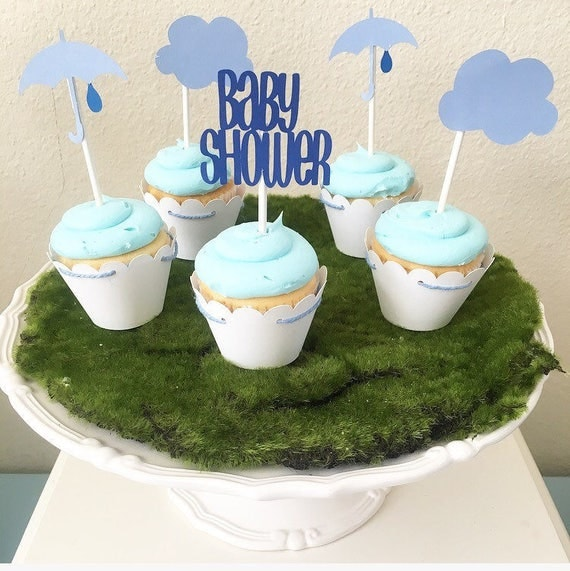 Baby shower cloud cupcake toppers