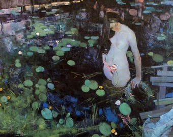 Original Art Oil Painting Swimming Nude Woman Figure In The Lake Lily Nenuphars Bridge River. Beauty Naked Woman Body Vintage Art. 2015.