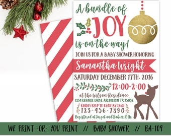 Christmas Baby Shower Invitation, Bundle of Joy Baby Shower Invitation, Holiday Baby Shower, Winter Baby Shower, Christmas Babyshower