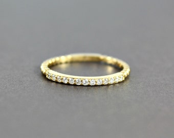 Women's Half Eternity Diamond Yellow Gold Band, Diamond Wedding Band, 14k Yellow Gold, Wedding Band, Promise Ring, For Her, For Women
