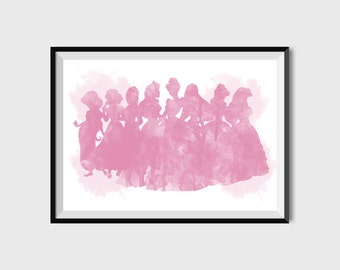 Disney Princess Print Belle Cinderella Snow White Ariel Watercolor Art Girl Nursery Pink Printable Princess prints Kids room art decor
