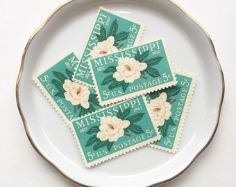10 vintage unused postage stamps USPS // mississippi magnolia mint green // 1960 // 5 cent