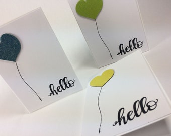 Hello! Blue Green Yellow Glittered Heart balloon Cards - Just because Card - Birthday Card