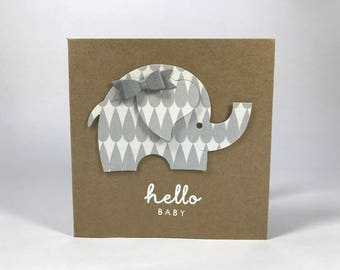 Hello Baby Elephant Card - Grey Bow - Baby Shower - Expecting - New Baby - Welcome Baby - Girl Or Boy - Congratulations
