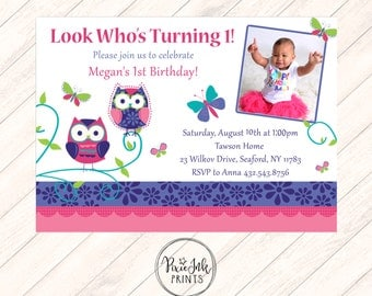 Owl First Birthday Invitation, Owl 1st Birthday Invitation, Owl Birthday Invitation, Owl Birthday Printable