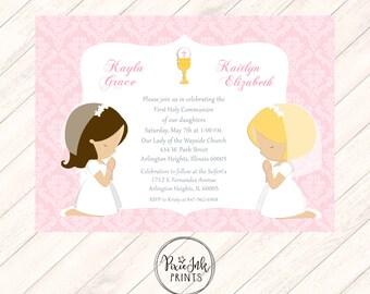 Pink Twin Girls Communion Invitation, Pink Sibling 1st Communion Invitation, Pink Damask Communion Invitation, Twin DIY Communion Printable