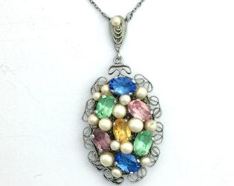 Vintage Filigree Multi-Gem Pearl Costume Necklace