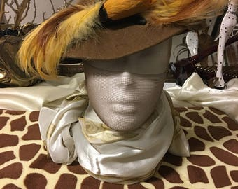 Brown Felt Hat With Feathers