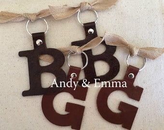 "2"" Handmade Leather Initial Keychain, Leather Keychain, Initial Keychain,"