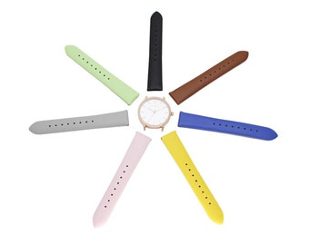 Women's Genuine Leather Watch Band - Black, Brown, Blue, Pink, Gray, Yellow, or Green Interchangeable Band - Thirteen.02 Watch Add-On Item