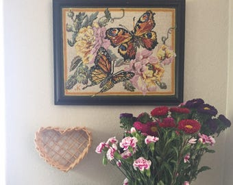 RESERVED • Vintage Butterfly Needlepoint • Monarch Butterfly Needlepoint • Butterfly Cross stitch