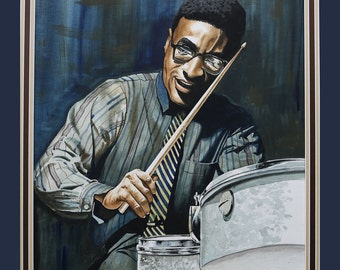 Max Roach By Tom Mckinney (16x20) Canvas Art,African American art