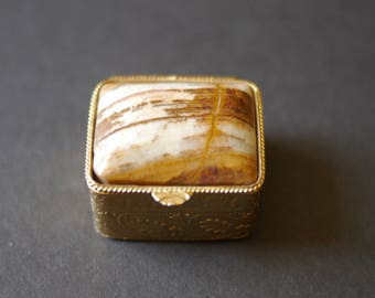 Gold tone with natural stone lid mini pill or trinket box made in Italy