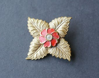 Square flower red enamel cold painted brooch with rhinestone
