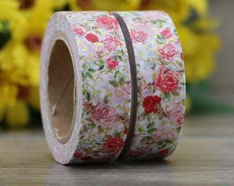 Washi tape with flowers designs and 15 mm gold color inserts 10 m.