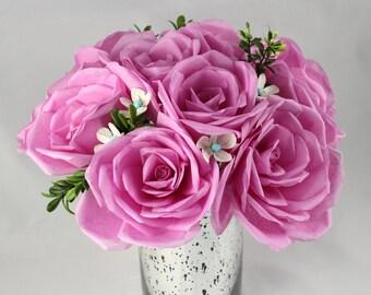 Paper Flower Bouquet - Dozen Pink Paper Roses - Artificial Flower Arrangement - Gift Centerpiece