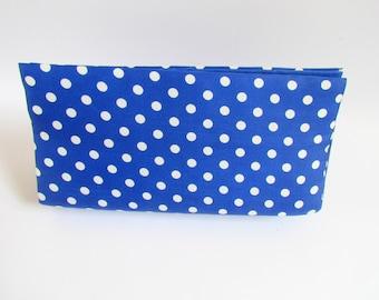 Everyday Blue Polka Dot Clutch, Colorful Clutch, Modern Clutch, Birthday Gift, Minimalist Clutch, Navy Blue Clutch, Summer clutch bag, Purse