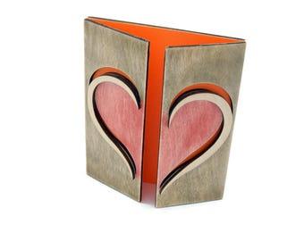 Wooden best-wishes card 'HEART'- Fabryka Gadżetów